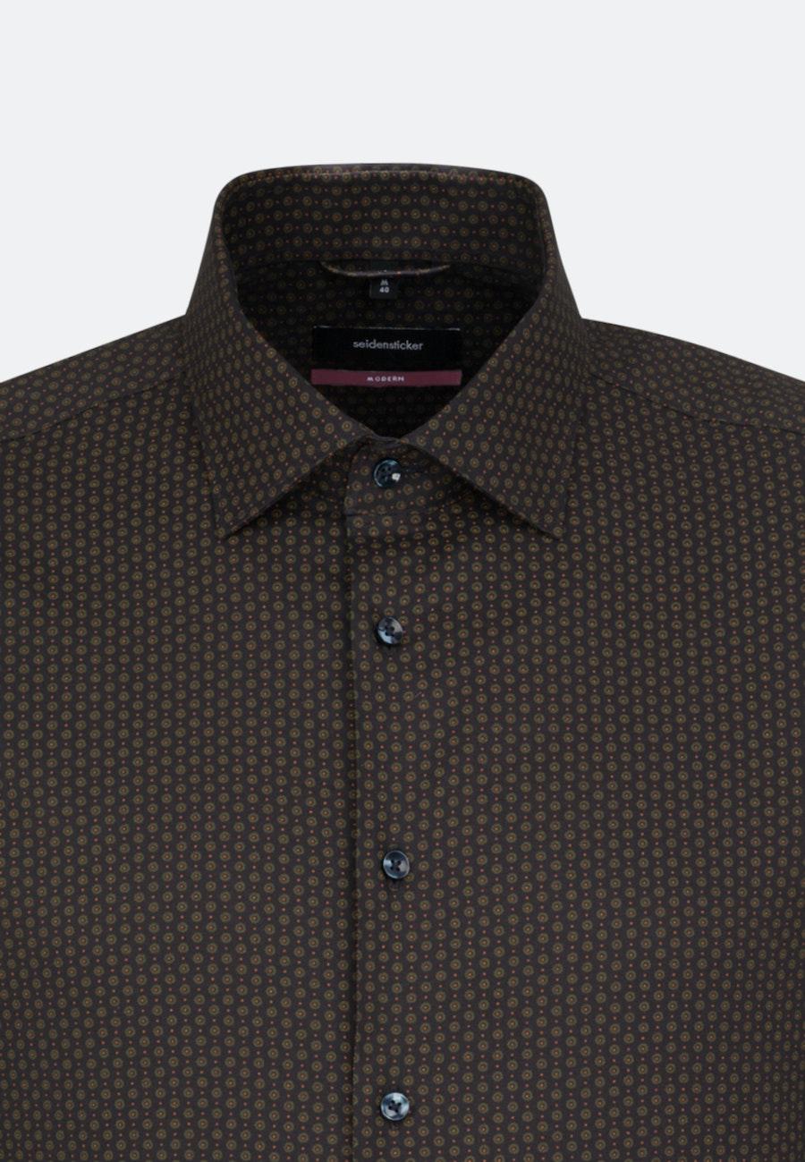 Bügelleichtes Twill Business Hemd in Regular mit Kentkragen in Braun |  Seidensticker Onlineshop