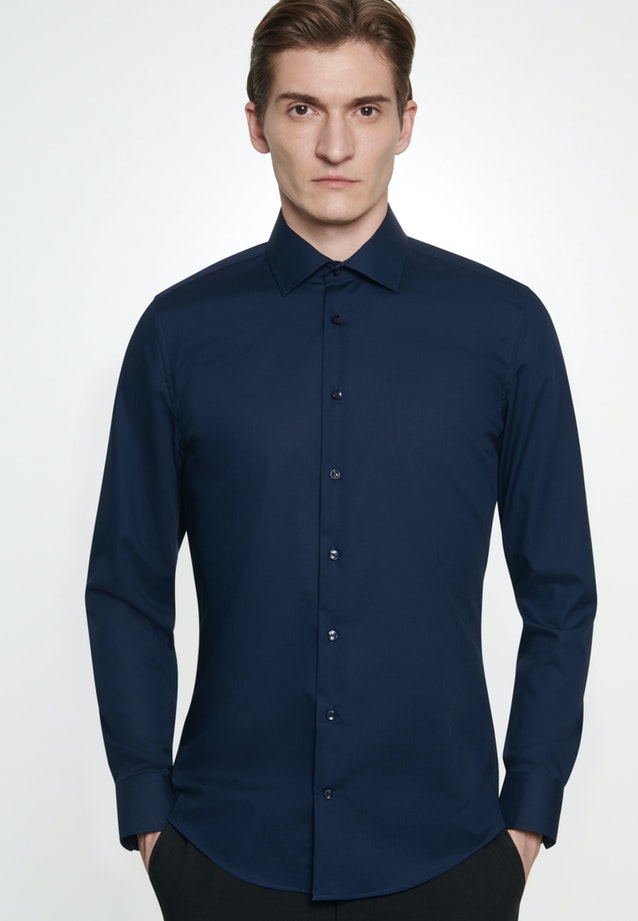 Non-iron Popeline Business Shirt in X-Slim with Kent-Collar in Dark blue |  Seidensticker Onlineshop