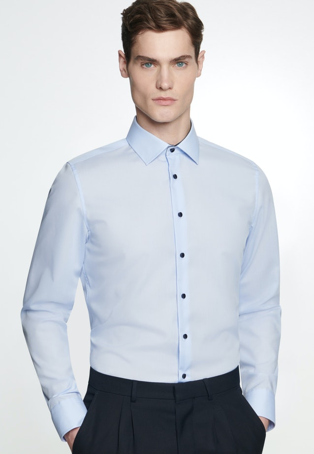 Non-iron Popeline Business Shirt in X-Slim with Kent-Collar in Medium blue |  Seidensticker Onlineshop