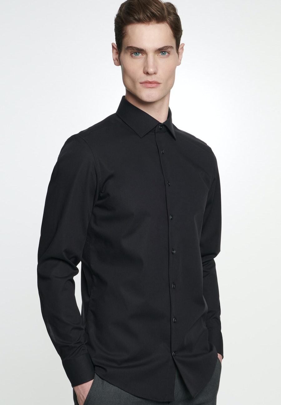 Non-iron Popeline Business Shirt in Slim with Kent-Collar in Black    Seidensticker Onlineshop