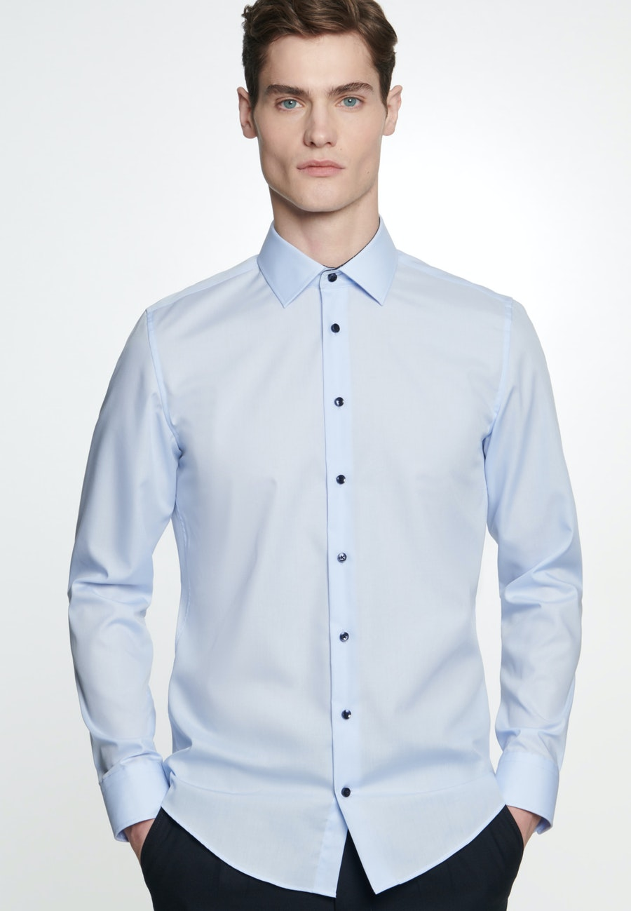Non-iron Popeline Business Shirt in Slim with Kent-Collar in Medium blue    Seidensticker Onlineshop