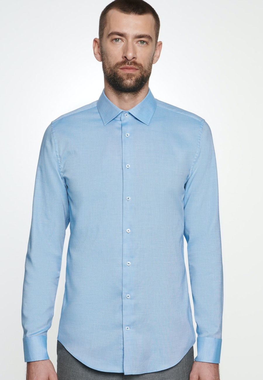 Non-iron Struktur Business Shirt in Slim with Kent-Collar in Turquoise |  Seidensticker Onlineshop