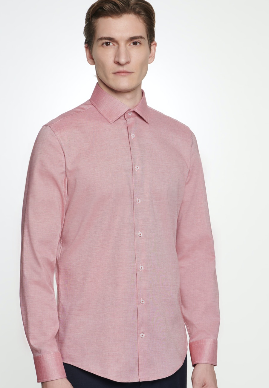 Non-iron Structure Business Shirt in Slim with Kent-Collar in Red |  Seidensticker Onlineshop