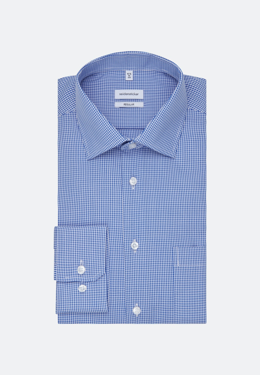 Non-iron Popeline Business Shirt in Regular with Kent-Collar in Medium blue |  Seidensticker Onlineshop