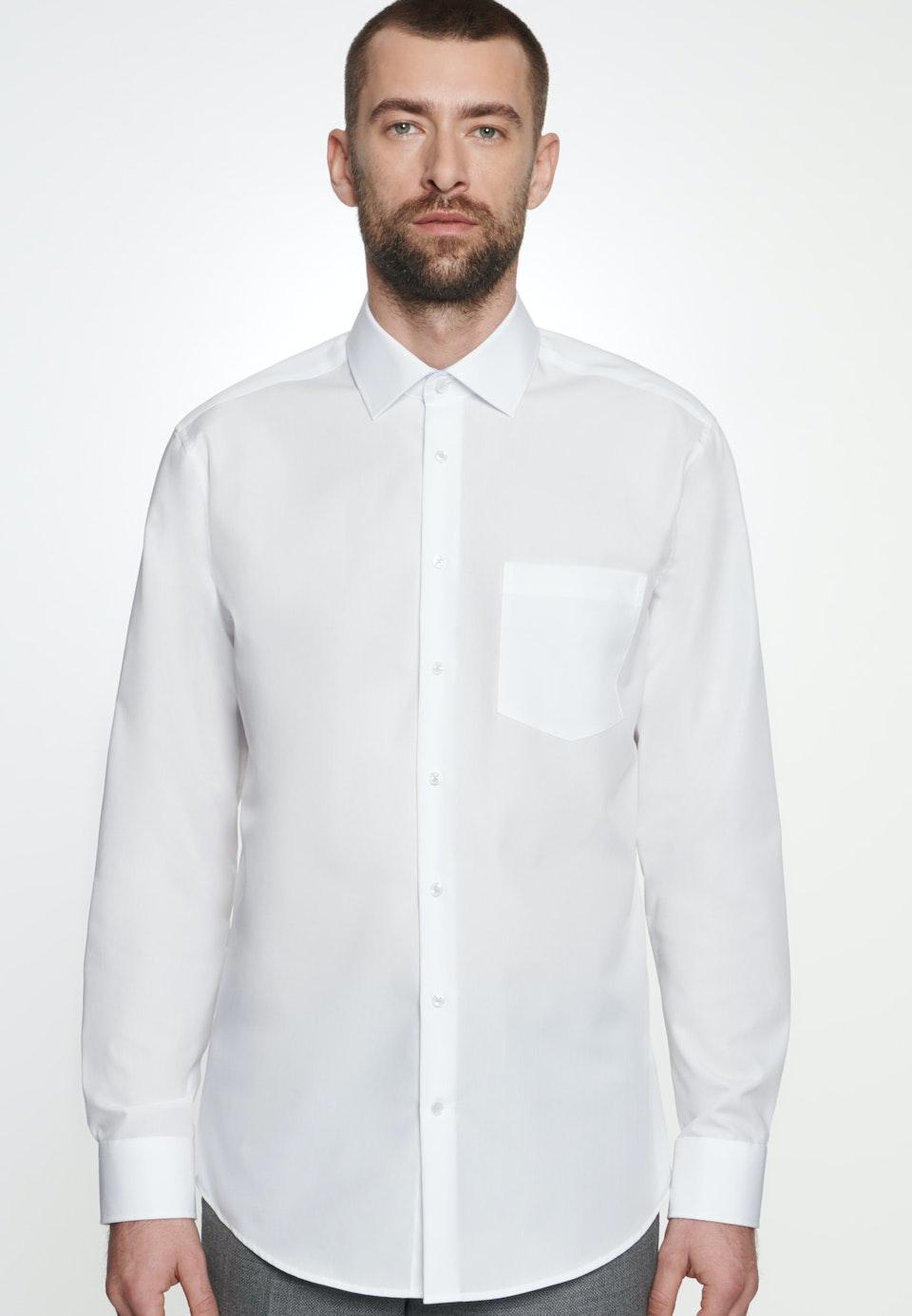 Non-iron Poplin Business Shirt in Regular with Kent-Collar in White    Seidensticker Onlineshop