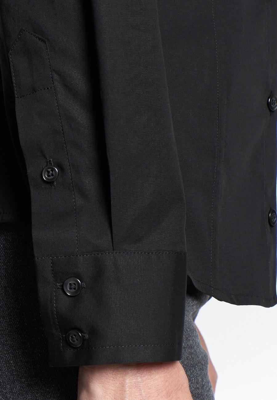 Popeline Hemdbluse aus Baumwollmischung in Schwarz |  Seidensticker Onlineshop