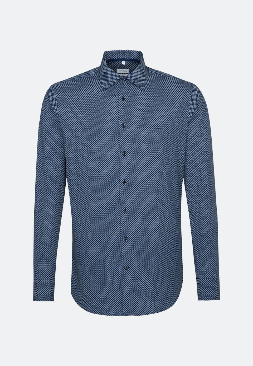 Easy-iron Poplin Business Shirt in Slim with Kent-Collar in Medium blue    Seidensticker Onlineshop