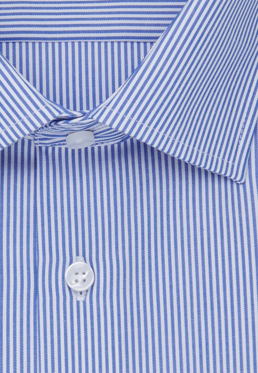Non-iron Poplin Business Shirt in Slim with Kent-Collar in Medium blue |  Seidensticker Onlineshop