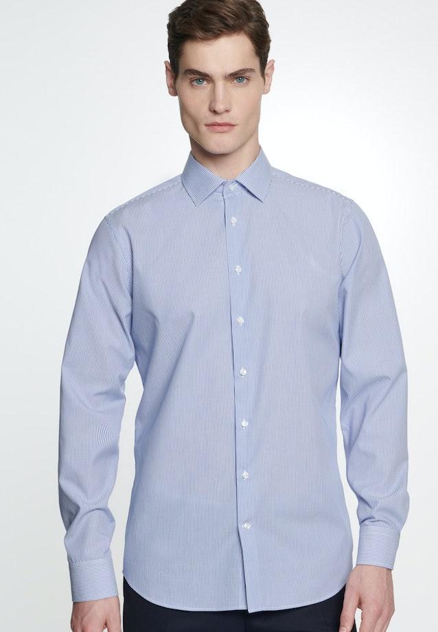 Non-iron Poplin Business Shirt in Slim with Kent-Collar in Medium blue    Seidensticker Onlineshop