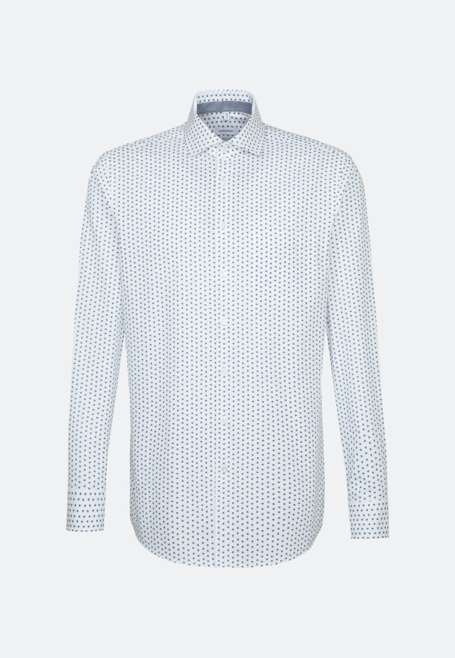 Bügelleichtes Struktur Business Hemd in Regular mit Kentkragen in Mittelblau    Seidensticker Onlineshop