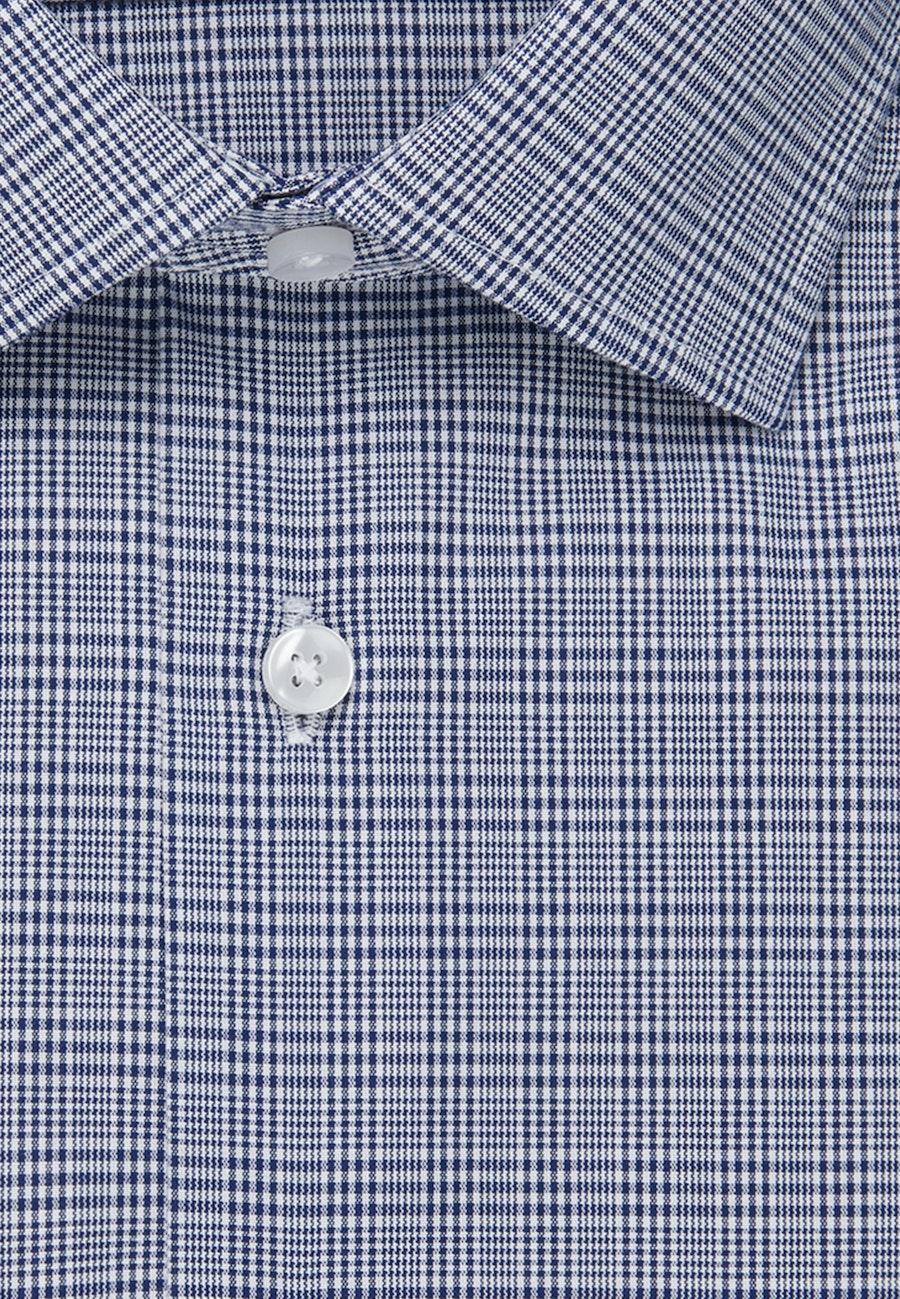 Bügelfreies Glencheck Business Hemd in Slim mit Kentkragen in Mittelblau |  Seidensticker Onlineshop