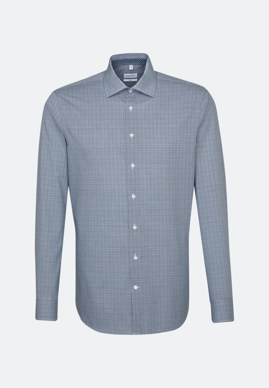 Non-iron Glencheck Business Shirt in Slim with Kent-Collar in Medium blue |  Seidensticker Onlineshop