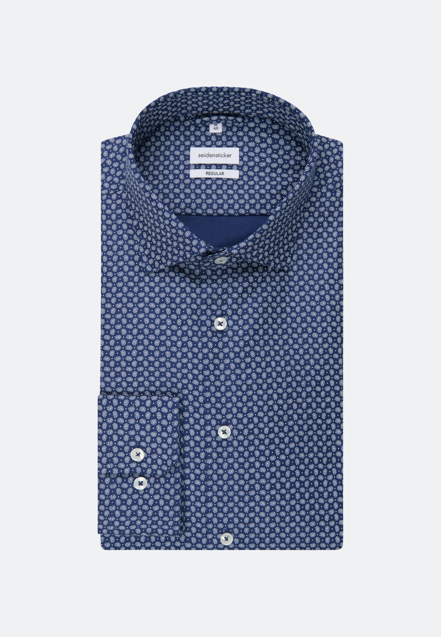 Easy-iron Struktur Business Shirt in Regular with Kent-Collar in Medium blue |  Seidensticker Onlineshop
