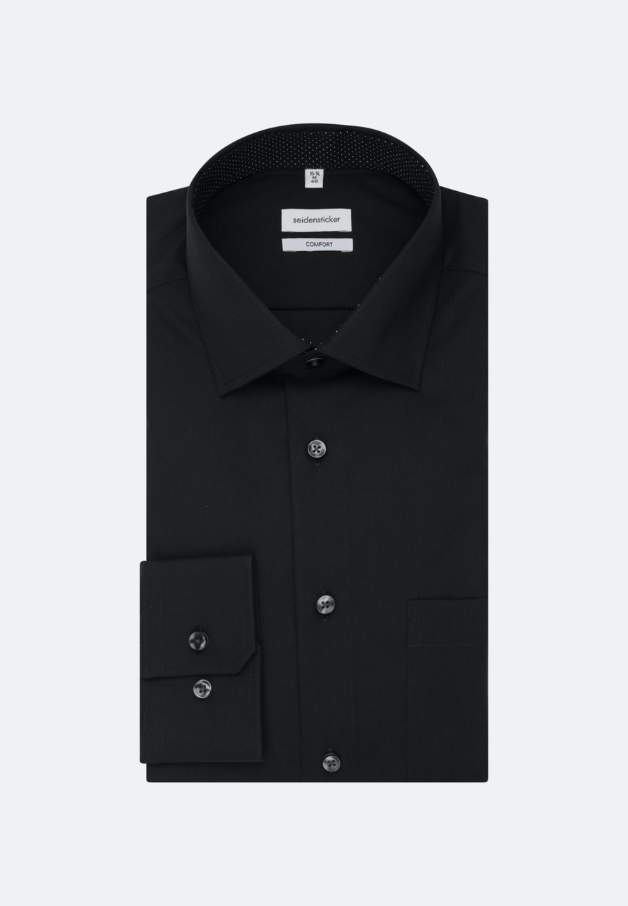 Non-iron Poplin Business Shirt in Comfort with Kent-Collar in Black |  Seidensticker Onlineshop
