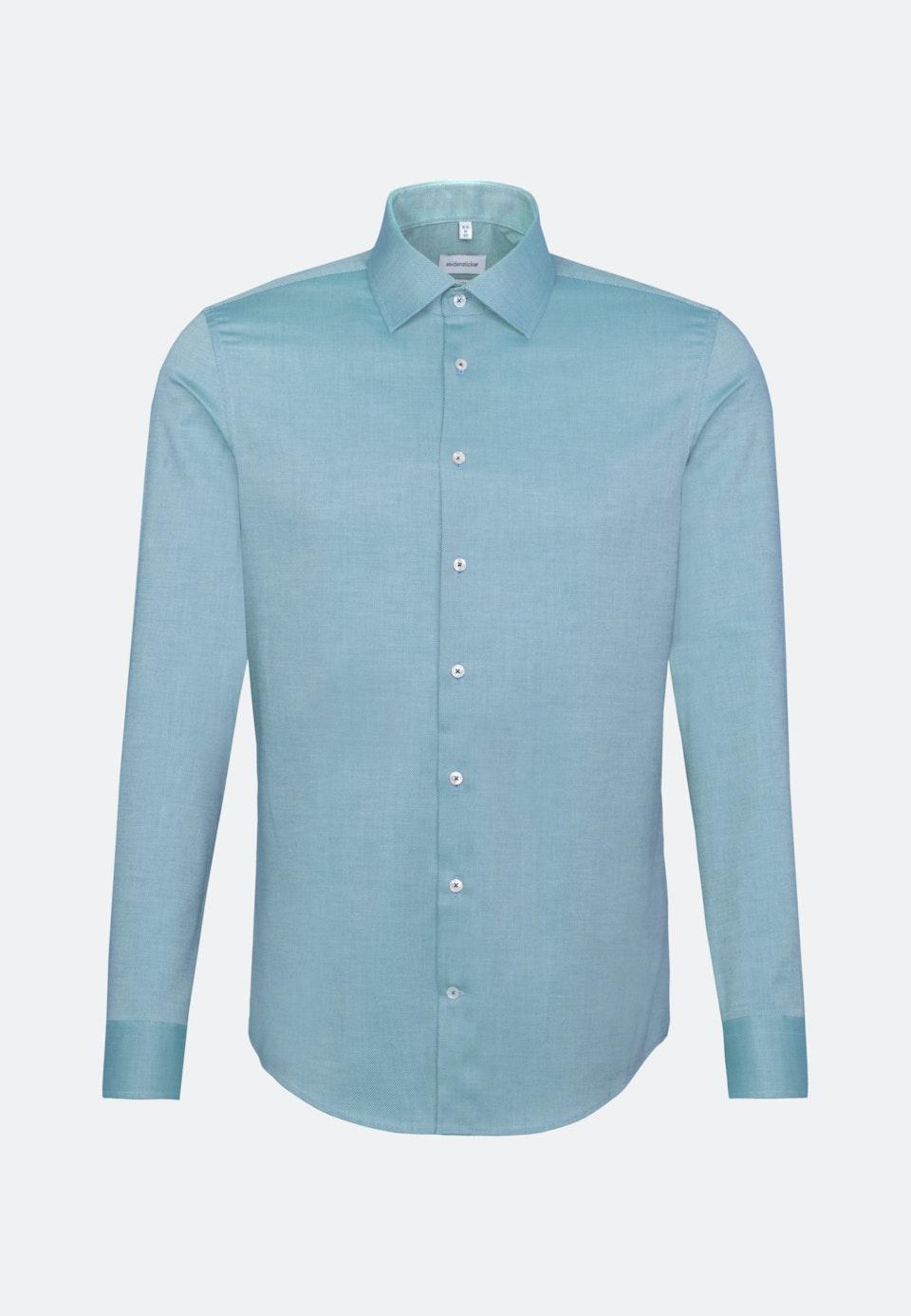Non-iron Structure Business Shirt in Slim with Kent-Collar in Türkis/Petrol |  Seidensticker Onlineshop