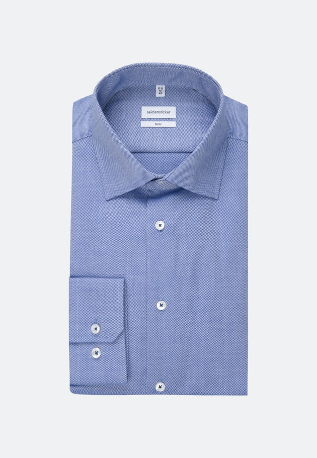 Non-iron Struktur Business Shirt in Slim with Kent-Collar in Mittelblau |  Seidensticker Onlineshop