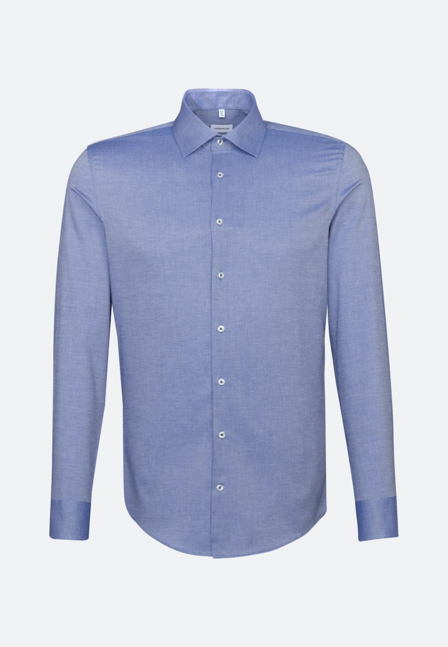 Non-iron Structure Business Shirt in Slim with Kent-Collar in Mittelblau    Seidensticker Onlineshop
