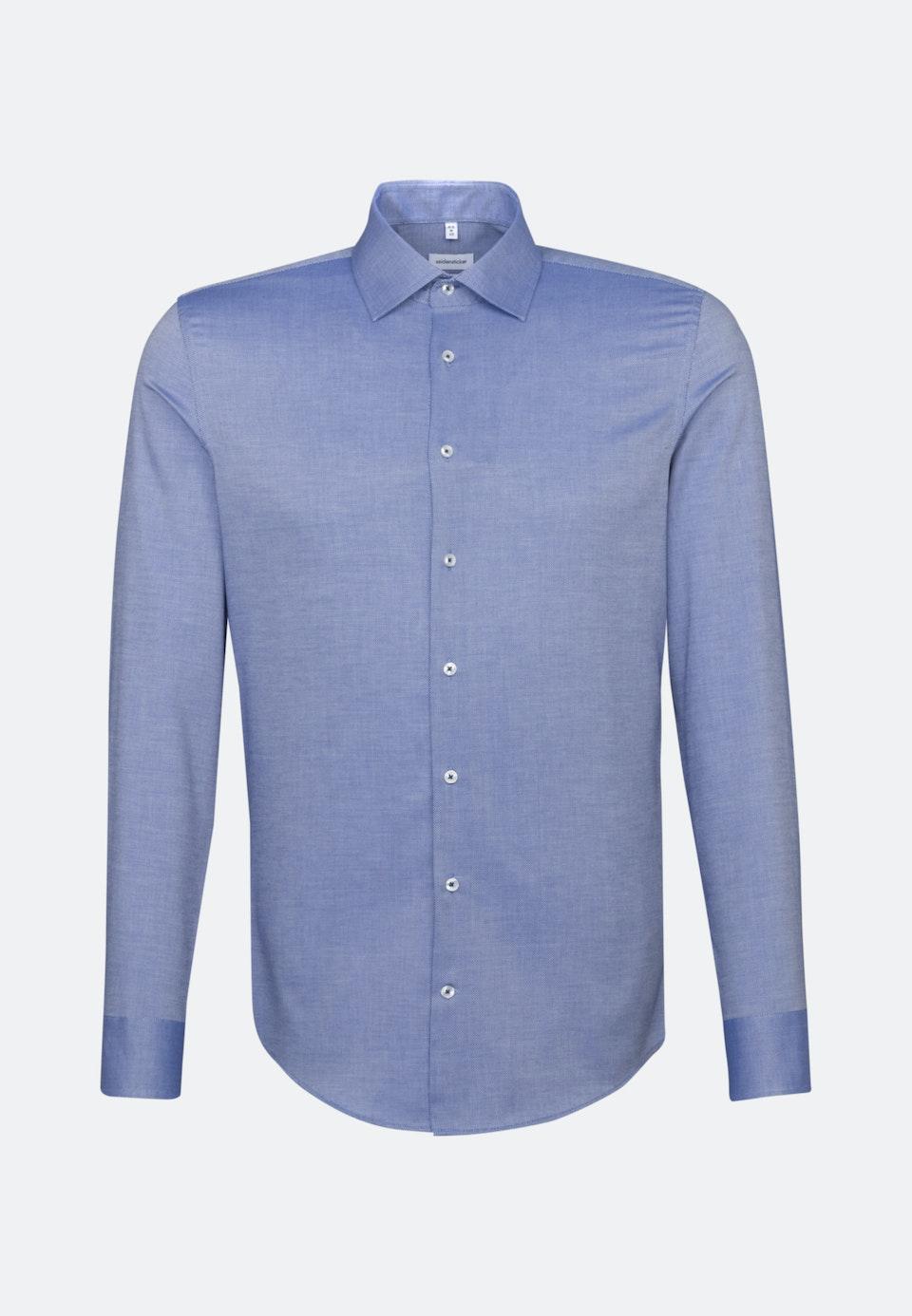 Bügelfreies Struktur Business Hemd in Slim mit Kentkragen in Mittelblau    Seidensticker Onlineshop