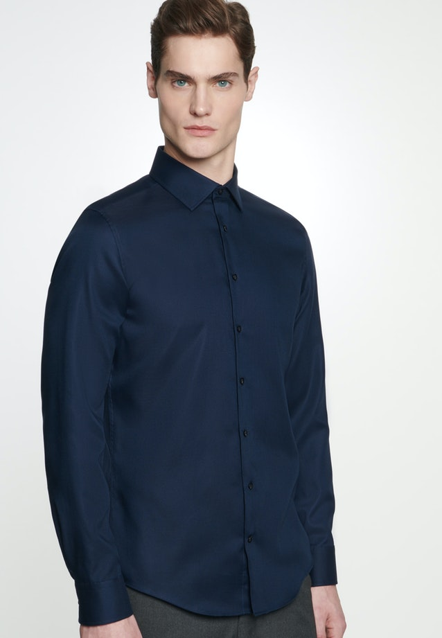 Non-iron Struktur Business Shirt in Slim with Kent-Collar in Dark blue |  Seidensticker Onlineshop
