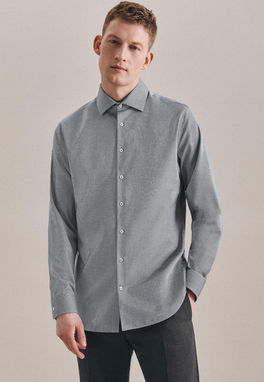 Non-iron Structure Business Shirt in Slim with Kent-Collar in Grau |  Seidensticker Onlineshop