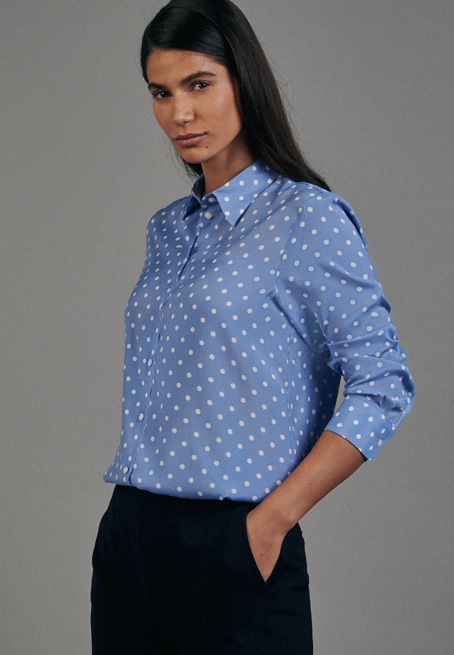 Voile Shirt Blouse made of 100% Viscose in Medium blue    Seidensticker Onlineshop