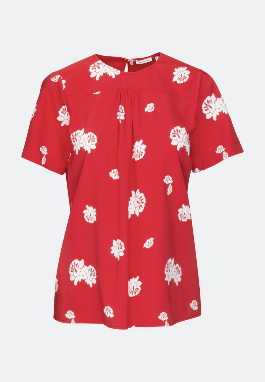 Kurzarm Krepp Shirtbluse aus Viskosemischung in Rot |  Seidensticker Onlineshop