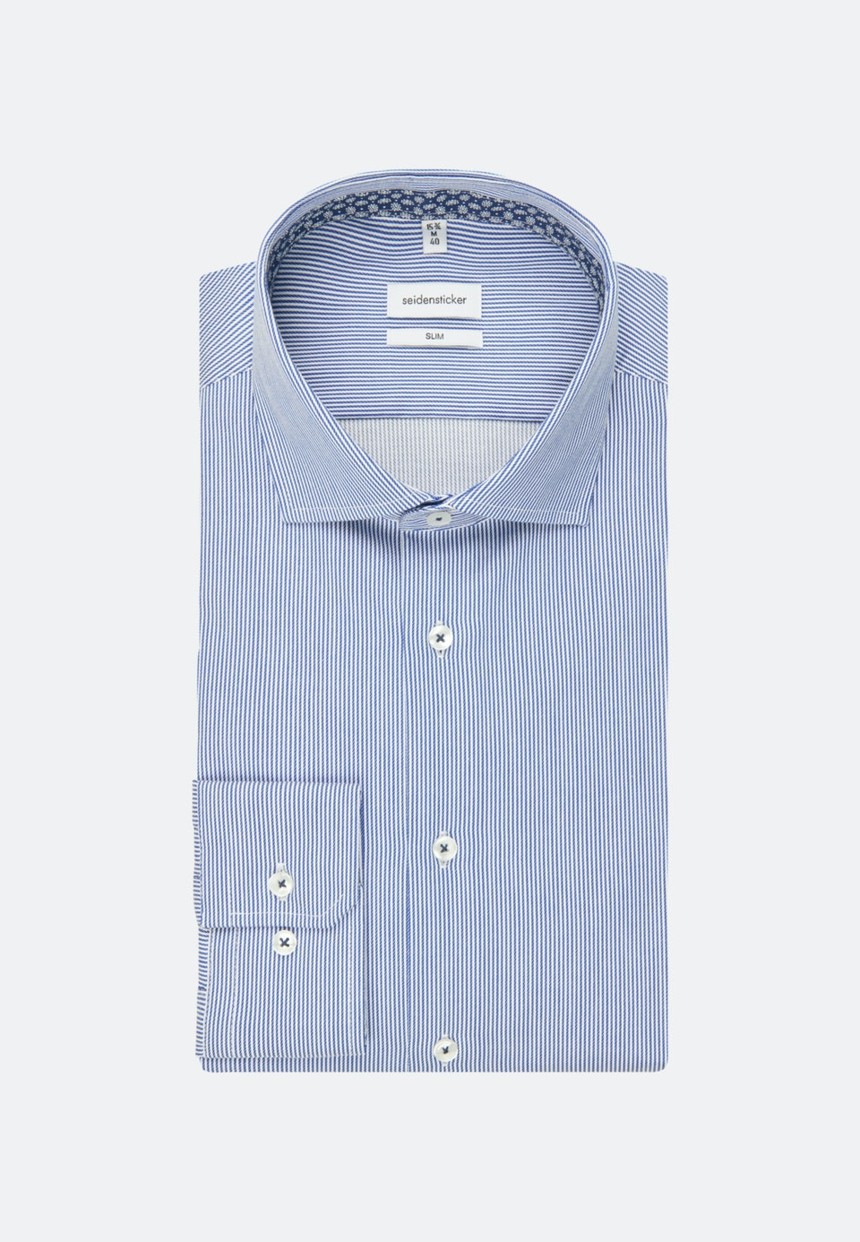 Easy-iron Twill Business Shirt in Slim with Kent-Collar in Medium blue |  Seidensticker Onlineshop