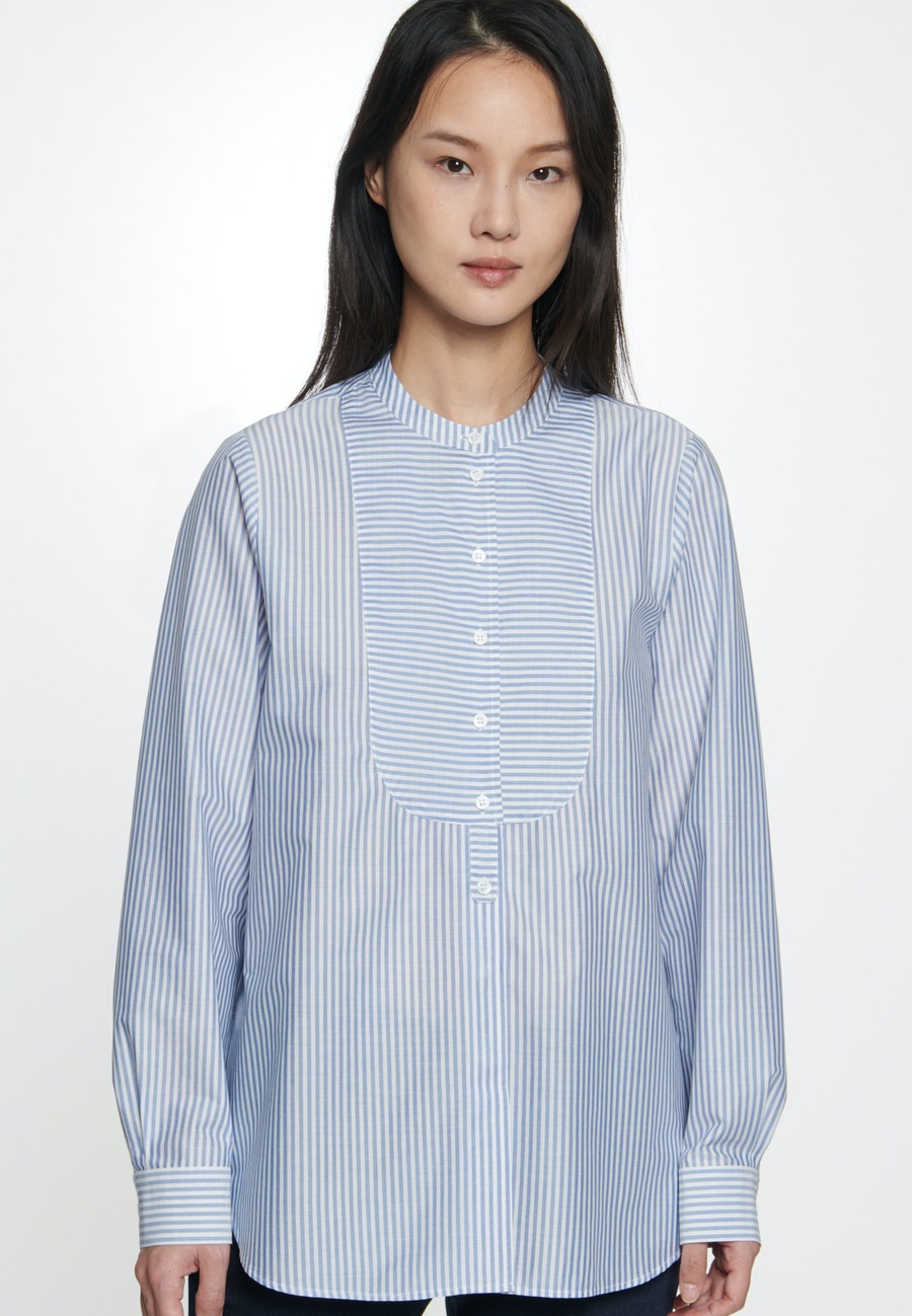 Poplin Stand-Up Blouse made of 100% Cotton in Medium blue |  Seidensticker Onlineshop