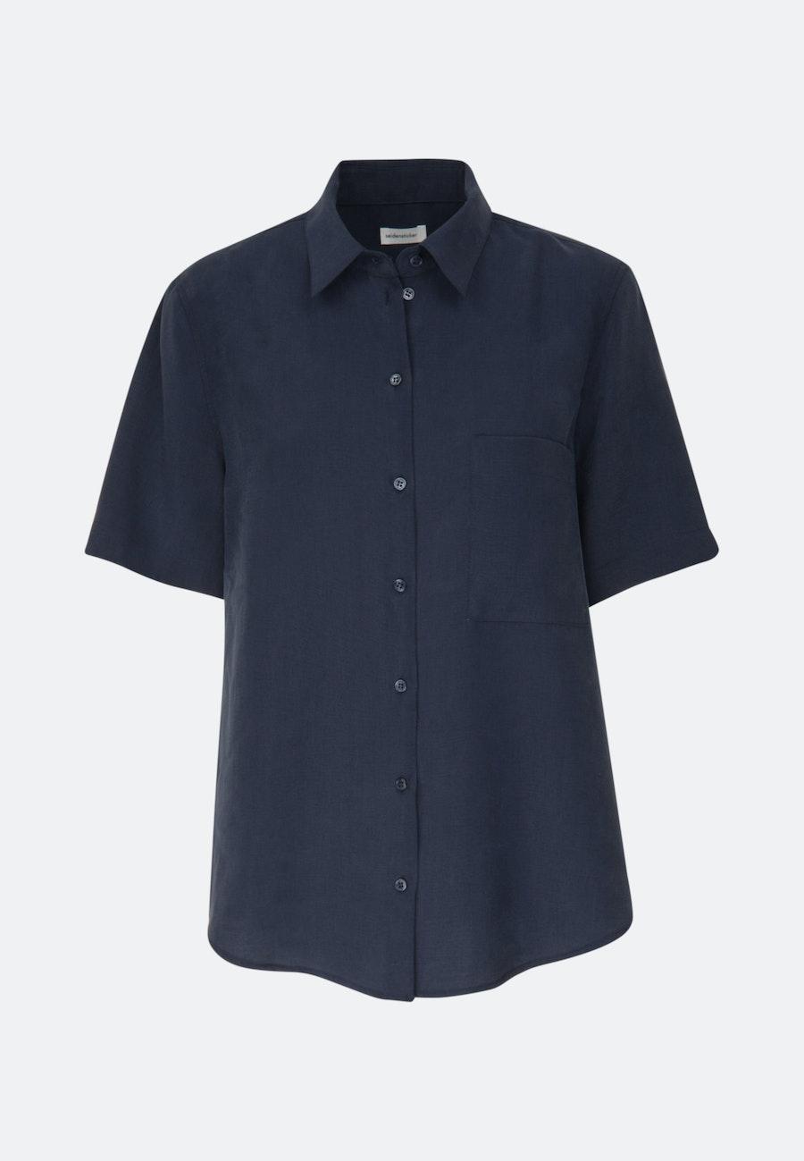 Short sleeve Twill Shirt Blouse made of tencel blend in Dark blue    Seidensticker Onlineshop