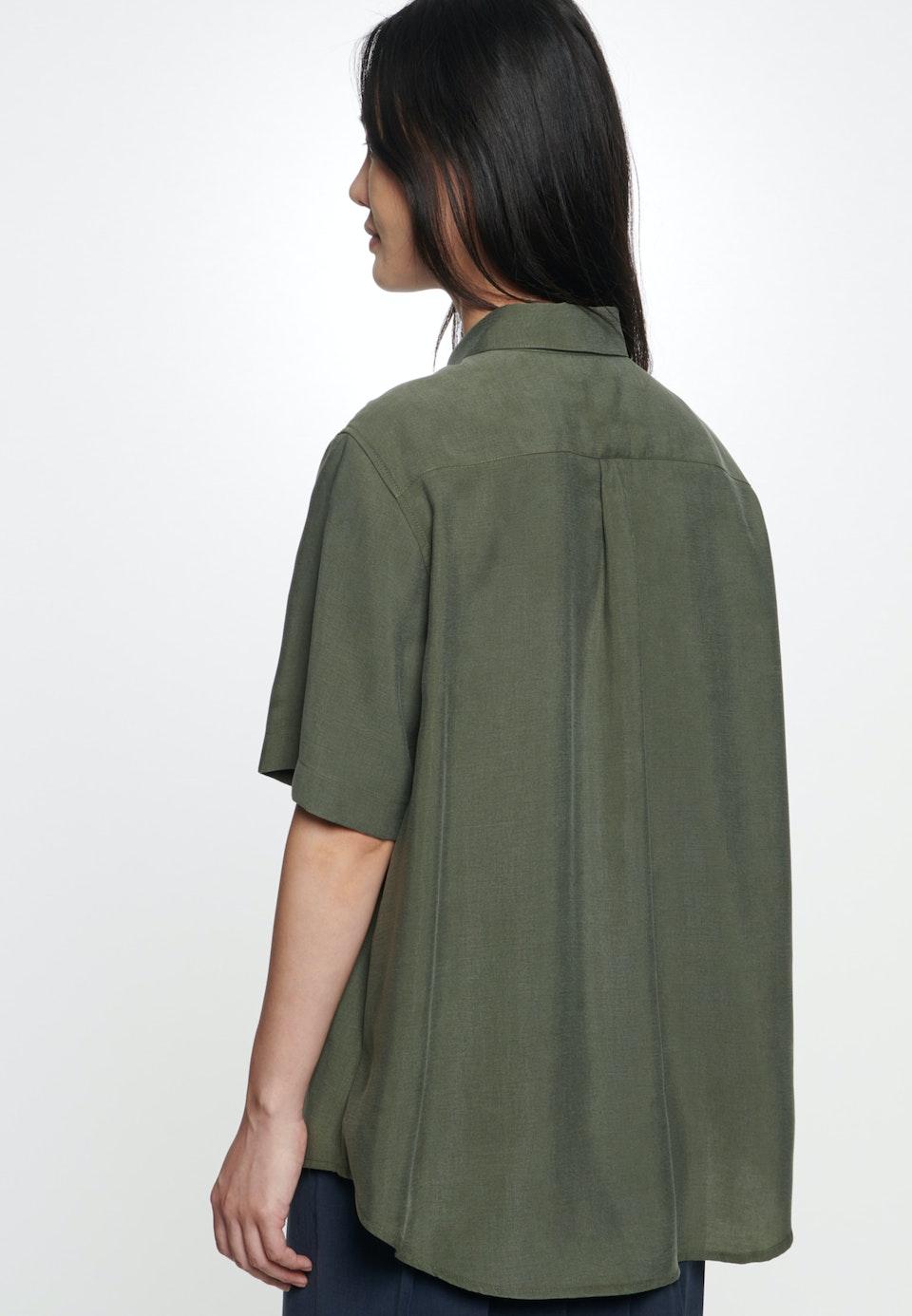 Short sleeve Twill Shirt Blouse made of tencel blend in Green    Seidensticker Onlineshop
