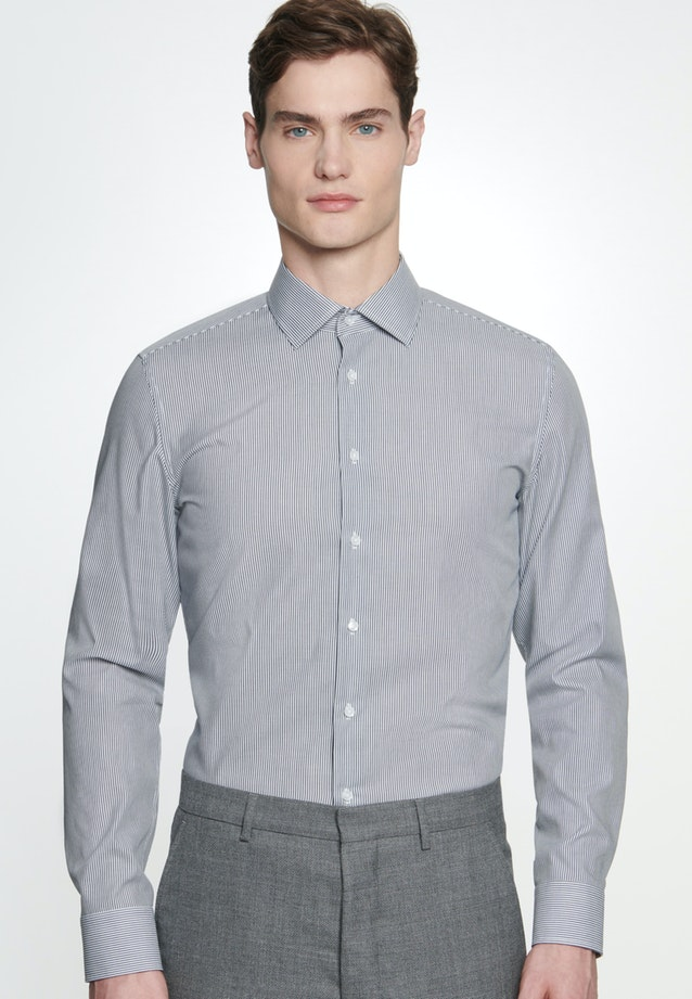 Non-iron Popeline Business Shirt in Shaped with Kent-Collar in Dark blue |  Seidensticker Onlineshop