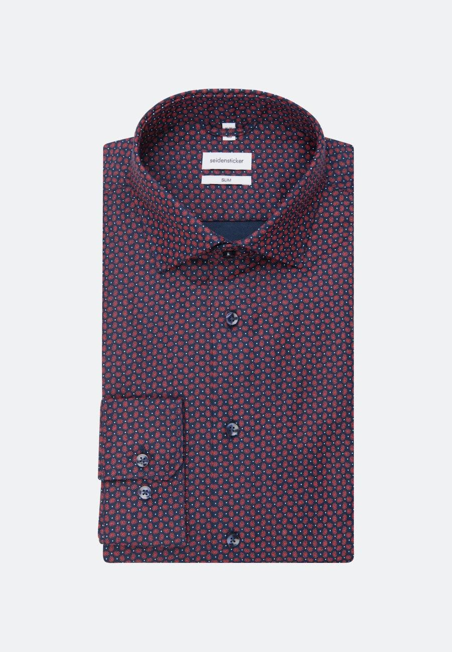 Bügelleichtes Struktur Business Hemd in Slim mit Kentkragen in Rot |  Seidensticker Onlineshop