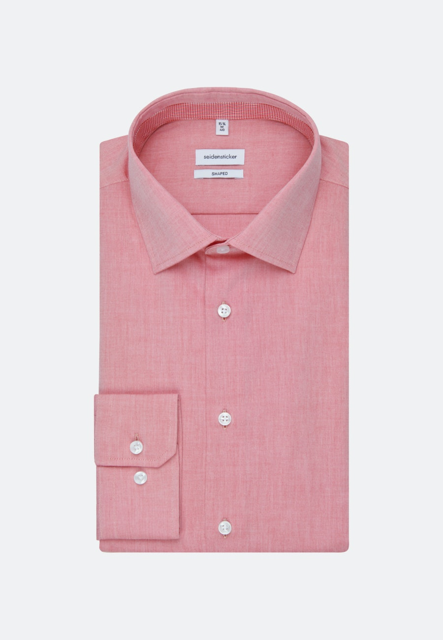 Non-iron Chambray Business Shirt in Shaped with Kent-Collar in Red |  Seidensticker Onlineshop
