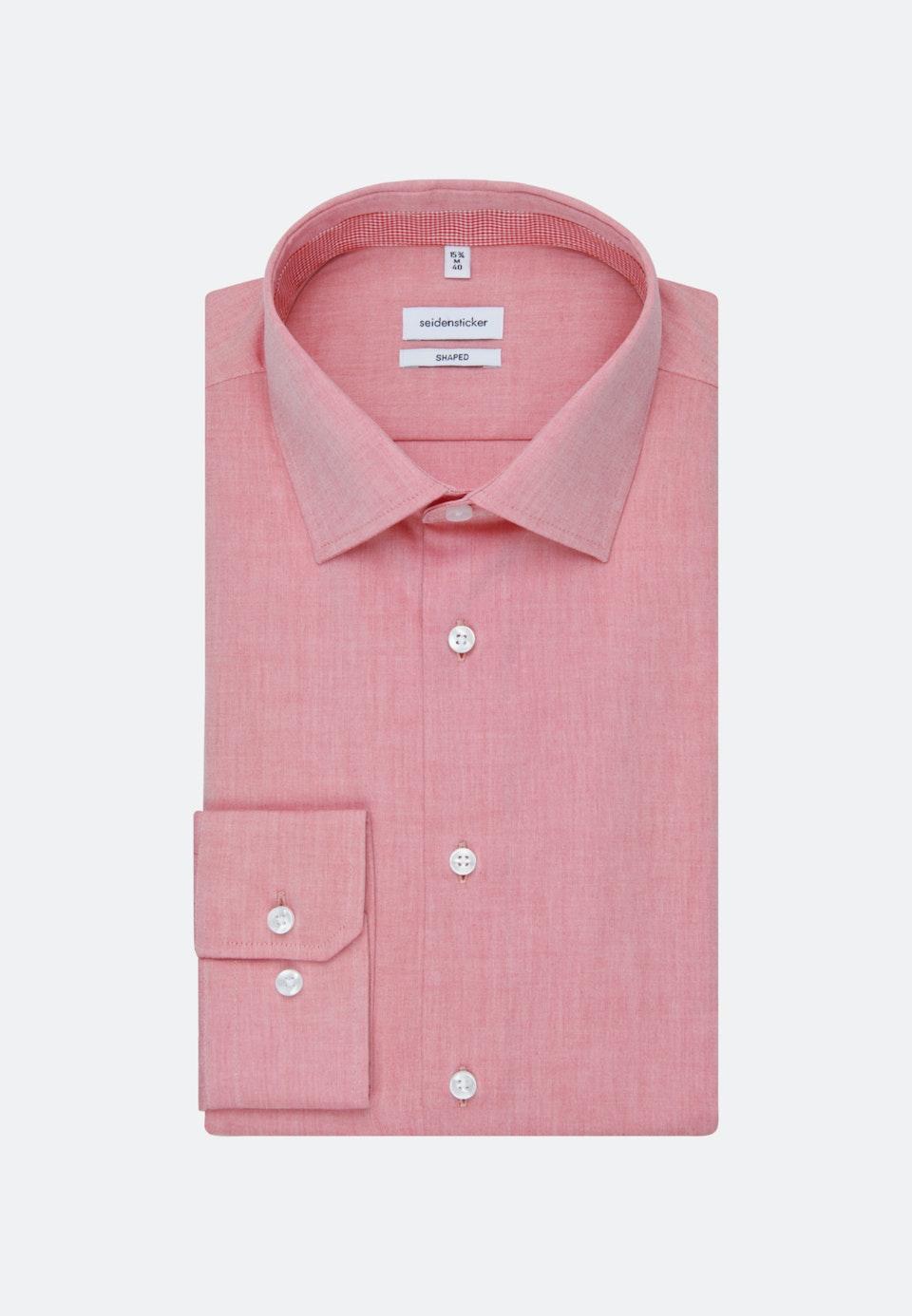 Bügelfreies Chambray Business Hemd in Shaped mit Kentkragen in Rot |  Seidensticker Onlineshop