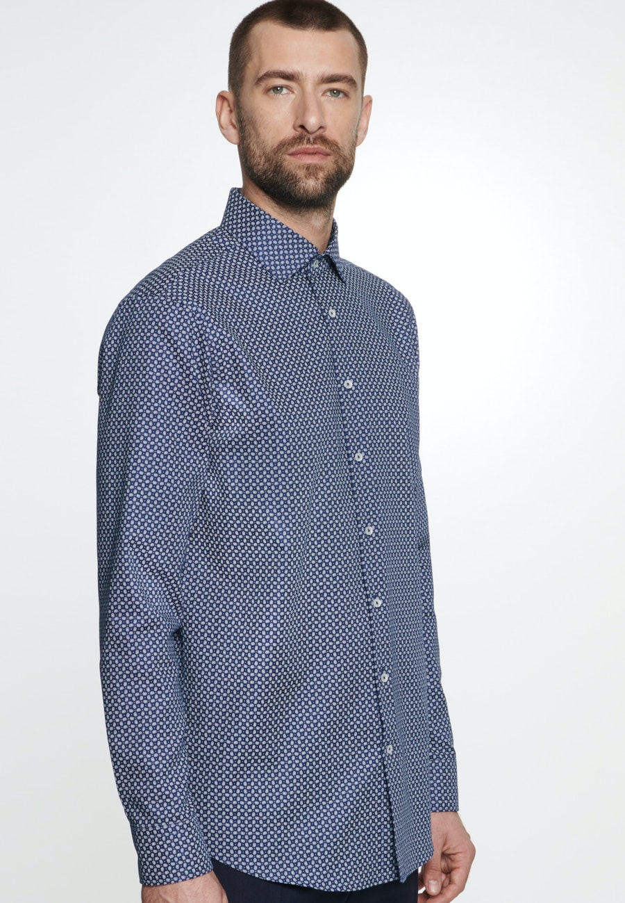 Easy-iron Struktur Business Shirt in Shaped with Kent-Collar in Medium blue |  Seidensticker Onlineshop
