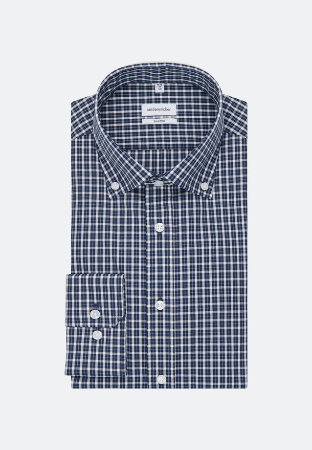Bügelfreies Popeline Business Hemd in Shaped mit Button-Down-Kragen in Dunkelblau |  Seidensticker Onlineshop