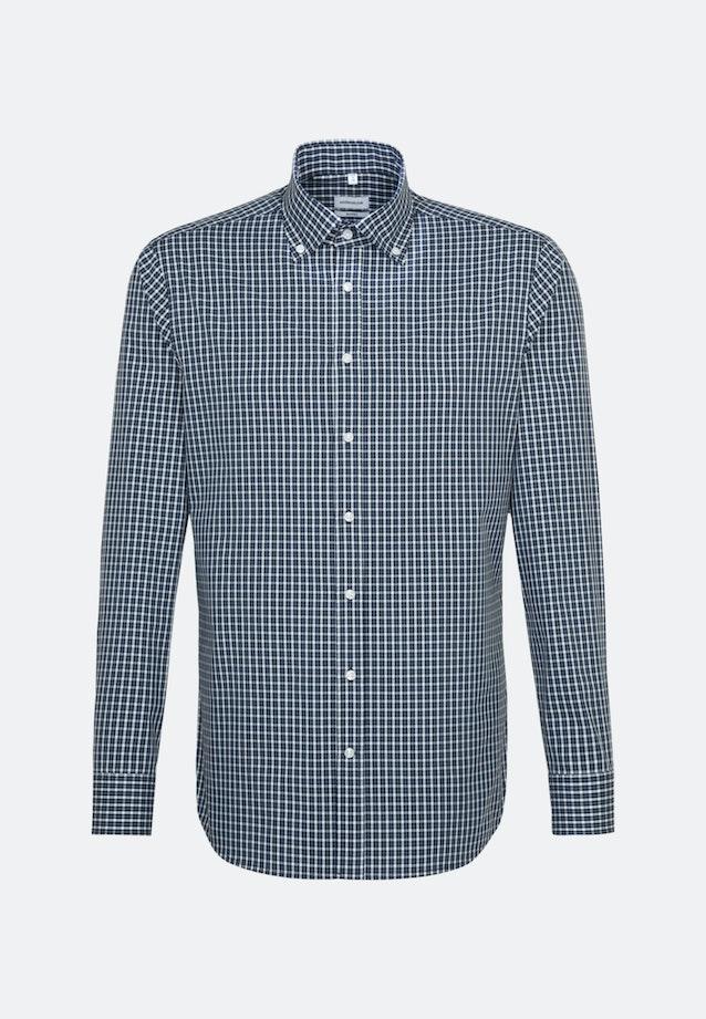 Non-iron Popeline Business Shirt in Shaped with Button-Down-Collar in Dark blue |  Seidensticker Onlineshop