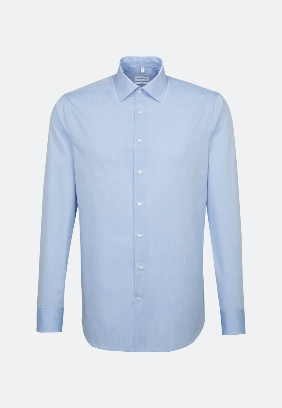 Non-iron Chambray Business Shirt in Slim with Kent-Collar in Light blue    Seidensticker Onlineshop