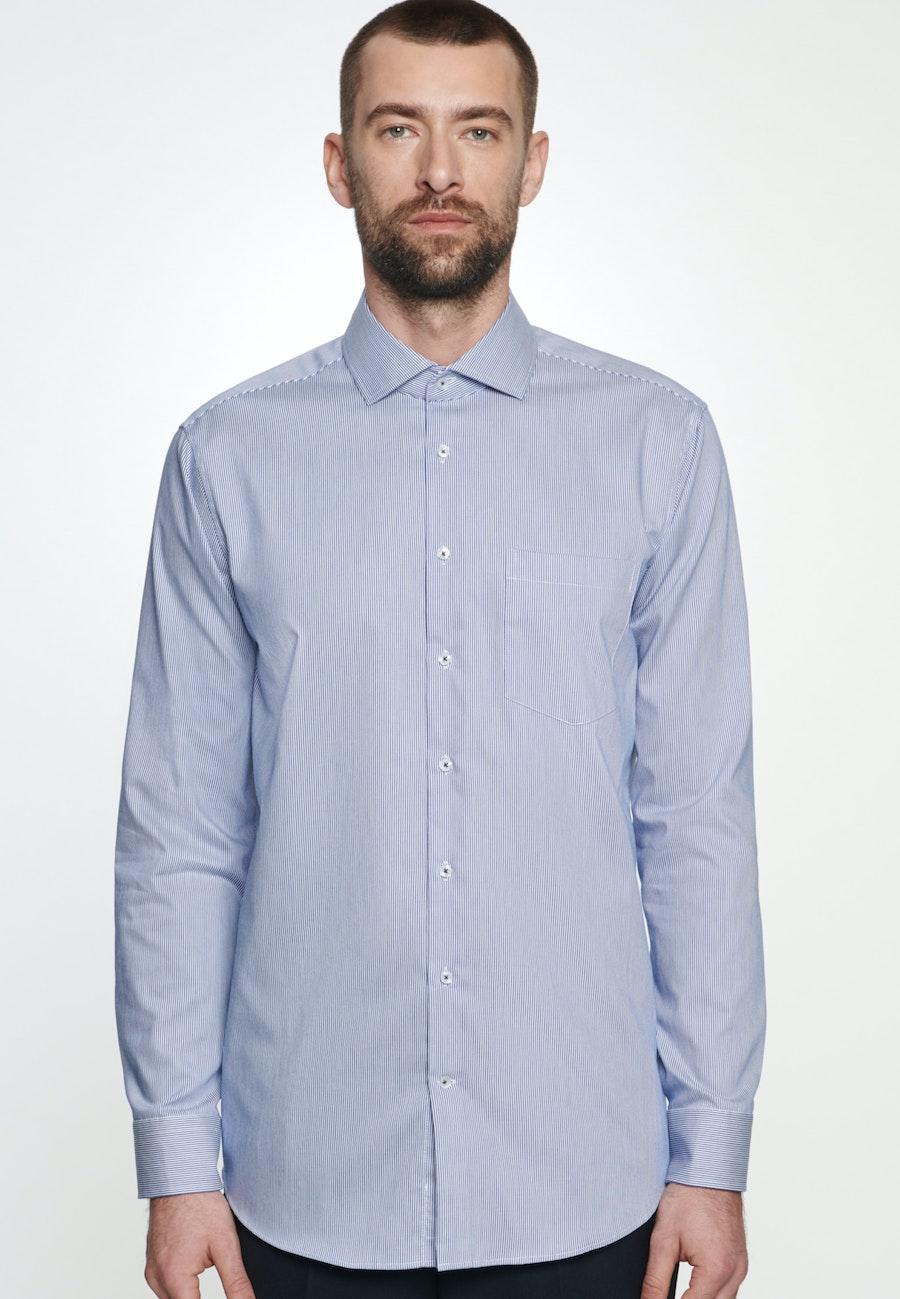 Bügelleichtes Twill Business Hemd in Regular mit Kentkragen in Mittelblau    Seidensticker Onlineshop