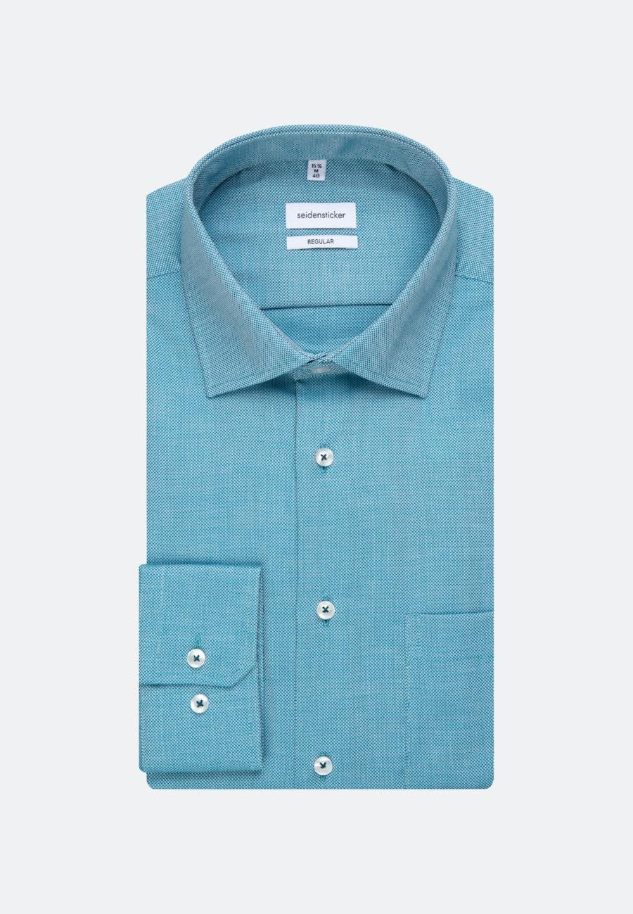 Non-iron Struktur Business Shirt in Regular with Kent-Collar in Türkis/Petrol |  Seidensticker Onlineshop