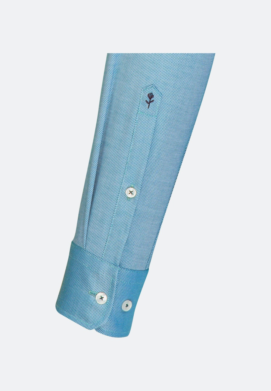 Non-iron Struktur Business Shirt in Regular with Kent-Collar in Türkis/Petrol    Seidensticker Onlineshop