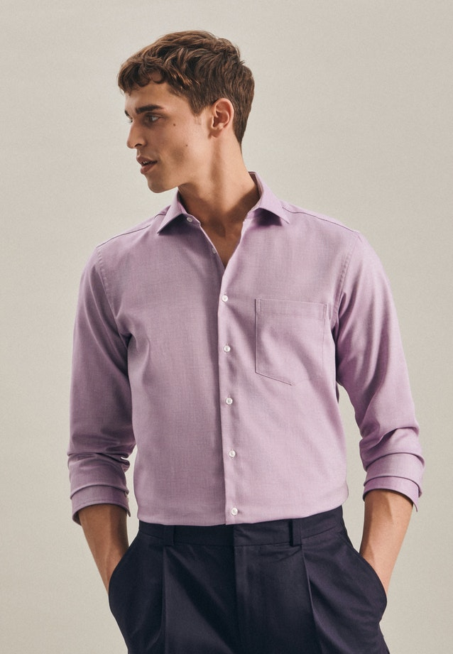 Non-iron Struktur Business Shirt in Regular with Kent-Collar in Purple |  Seidensticker Onlineshop