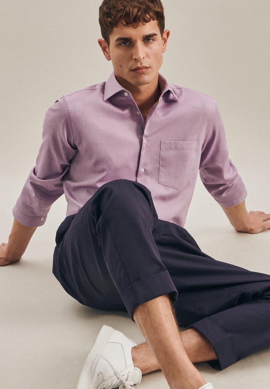 Non-iron Struktur Business Shirt in Regular with Kent-Collar in Purple    Seidensticker Onlineshop