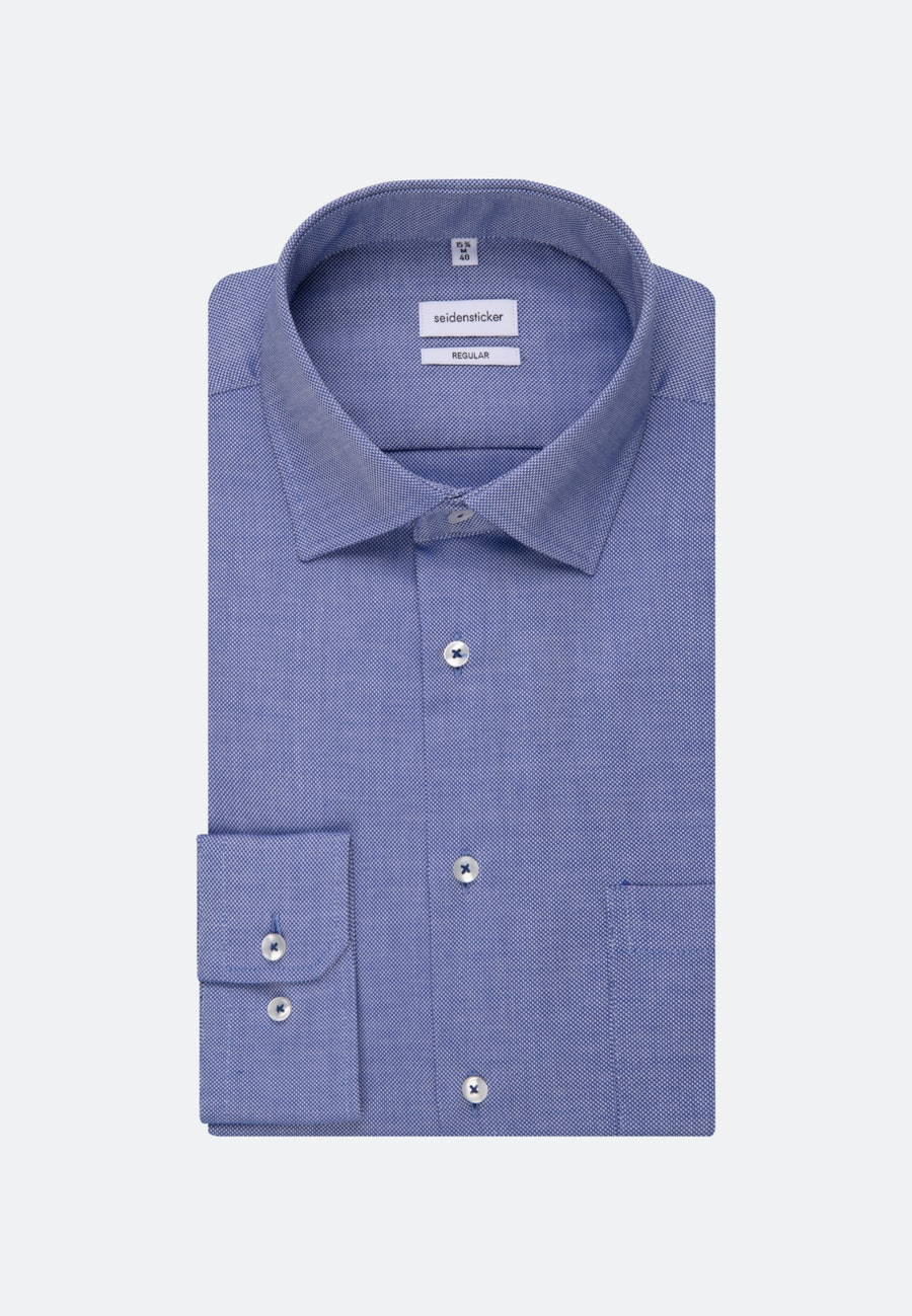 Non-iron Struktur Business Shirt in Regular with Kent-Collar in Mittelblau |  Seidensticker Onlineshop