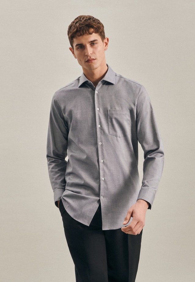 Non-iron Struktur Business Shirt in Regular with Kent-Collar in Grau |  Seidensticker Onlineshop