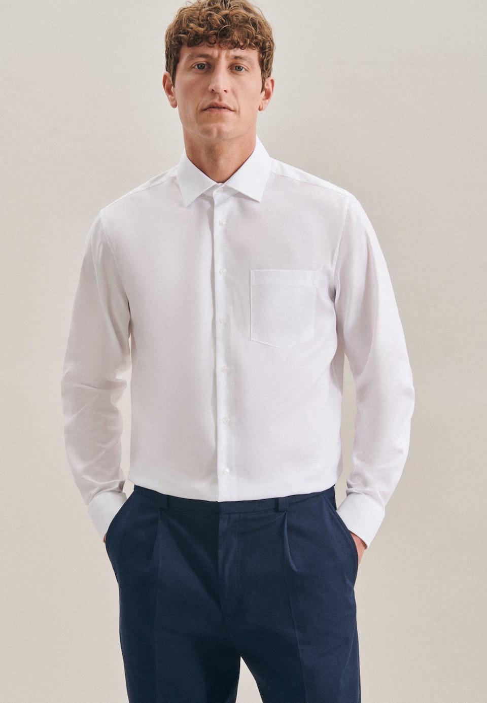 Non-iron Structure Business Shirt in Regular with Kent-Collar in White    Seidensticker Onlineshop