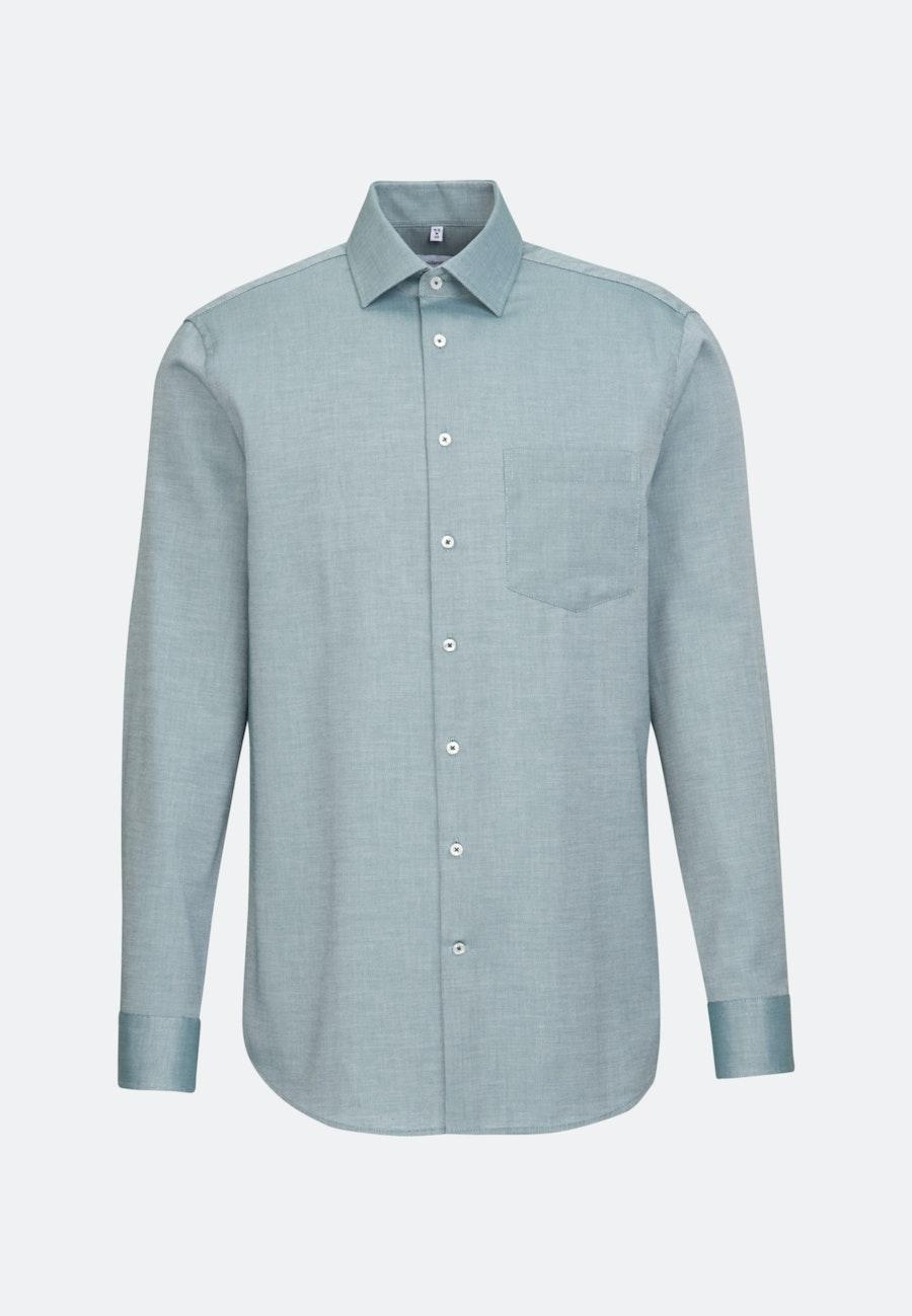Non-iron Struktur Business Shirt in Regular with Kent-Collar in Grün    Seidensticker Onlineshop