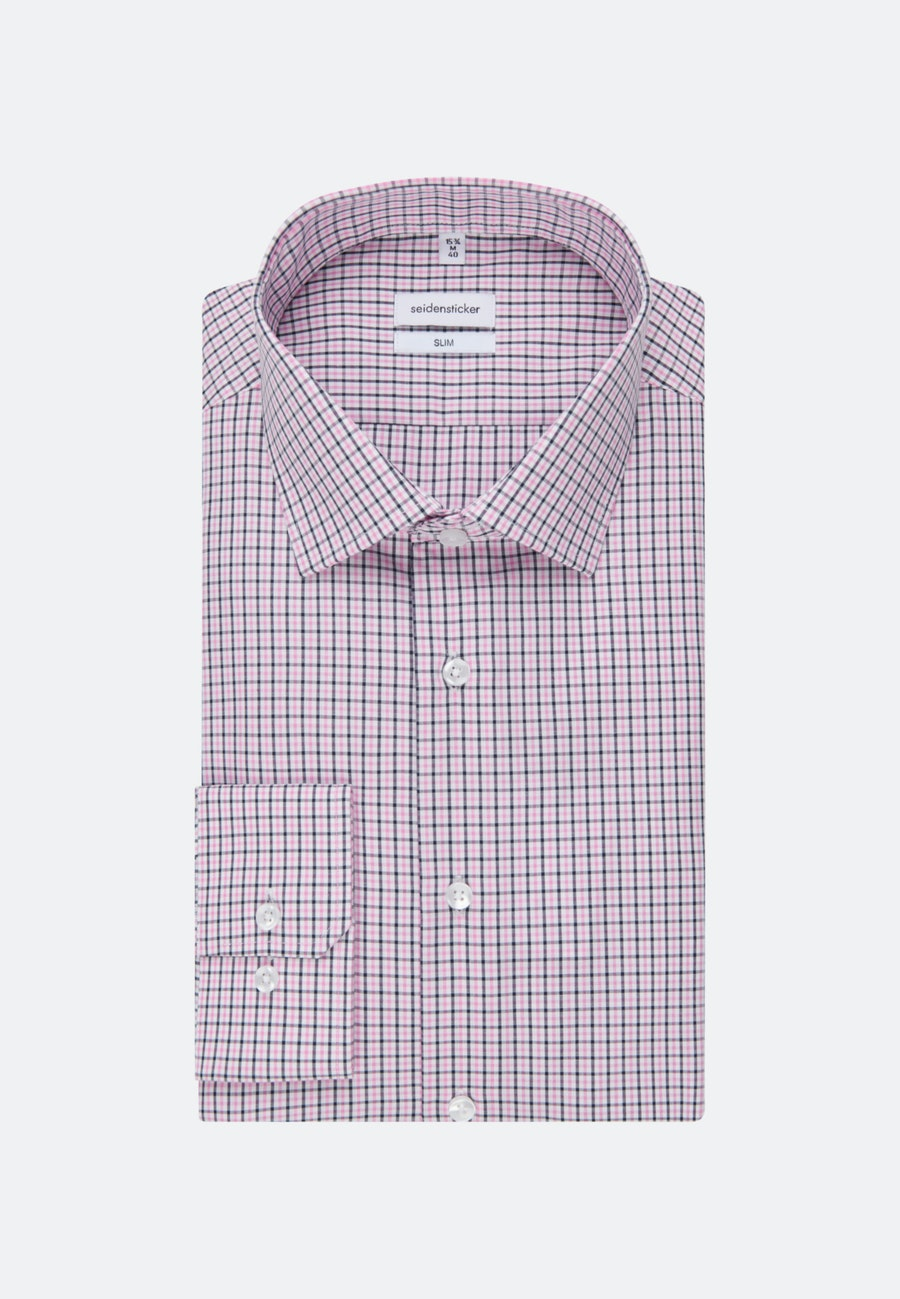 Non-iron Popeline Business Shirt in Slim with Kent-Collar in Pink |  Seidensticker Onlineshop