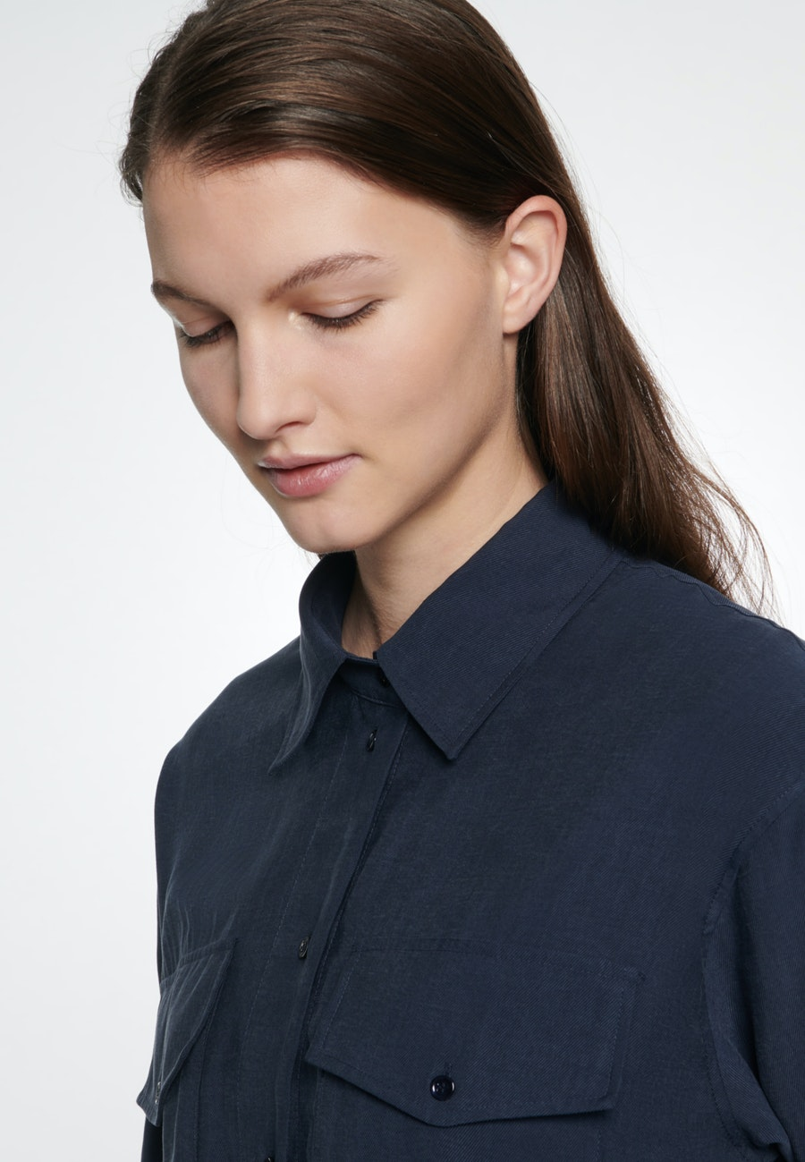 Twill Midi Kleid aus Tencelmischung in Dunkelblau    Seidensticker Onlineshop