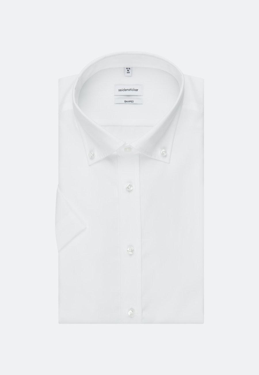 Bügelfreies Popeline Kurzarm Business Hemd in Shaped mit Button-Down-Kragen in Weiß    Seidensticker Onlineshop
